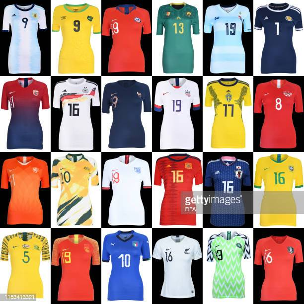 On display the home shirts for every team taking part in the FIFA Women's World Cup 2019 in France