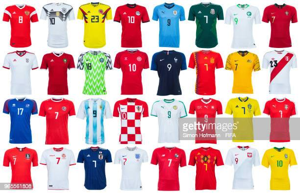 On display the home shirts for every team taking part in the FIFA World Cup 2018 in Russia