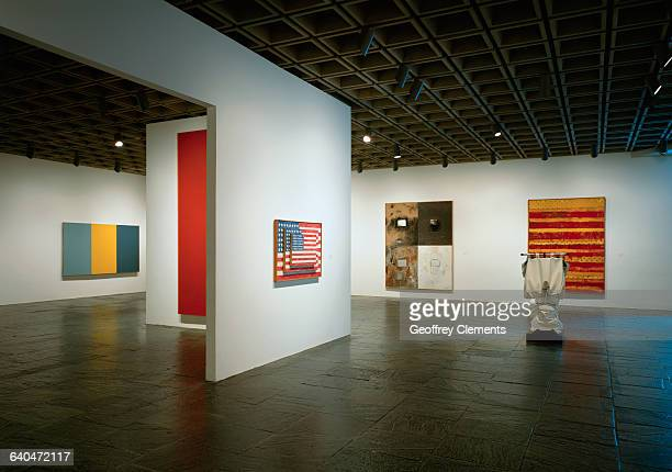 On exhibit are Three Flags by Jasper Johns Soft Toilet by Claes Oldenburg Summer Table by Brice Marden Yoiks by Robert Rauschenberg