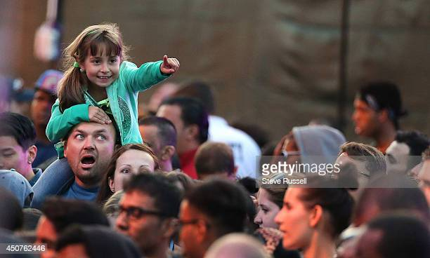 TORONTO ON JUNE 15 On father's day a father shoulders his daughter at the at the Much Music Video Awards at MuchMusic on Queen Street West in Toronto...