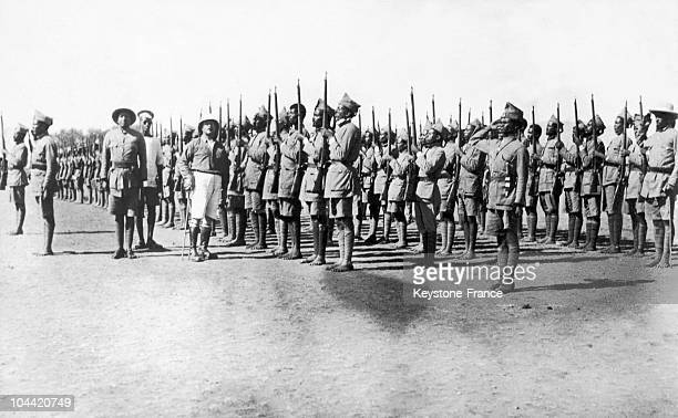 On February 15 While Fascist Italy Aimed At Conquering Ethiopia An Ethiopian Infantry Contingent Was Reviewed By French Captain Aghion Who Trained...