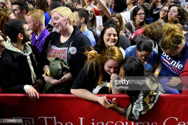 On February 19 2019 Bernie Sanders announced to run a campaign for the 2020 Presidential Elections Supporters react moments after greeting...
