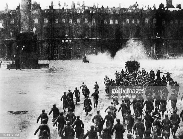 On February 27 soldiers and workers siding with the Bolshevik cause seized the Winter Palace in Petrograd