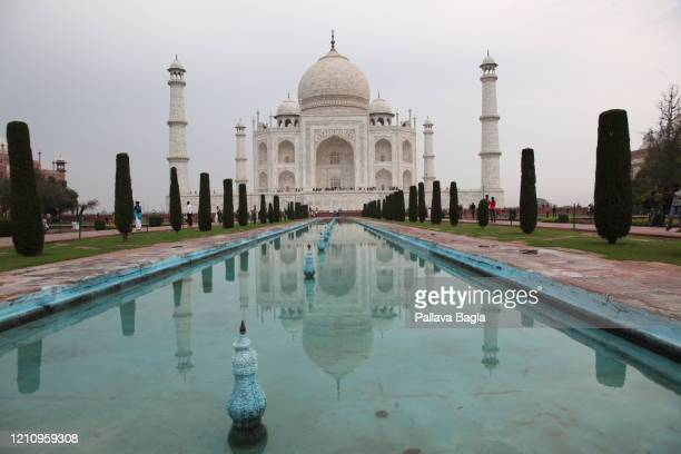 On February 28, 2020 in Agra, India. The Taj Mahal after years of tourism and air pollution is showing signs of damage. The air pollution level at...