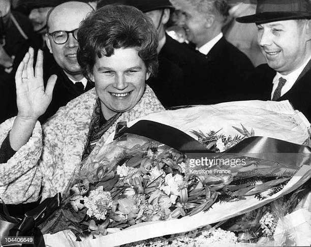 On February 4 the Russian astronaut Valentina TERESHKOVA greeted the crowd and photographers upon her arrival at London's airport The first woman in...