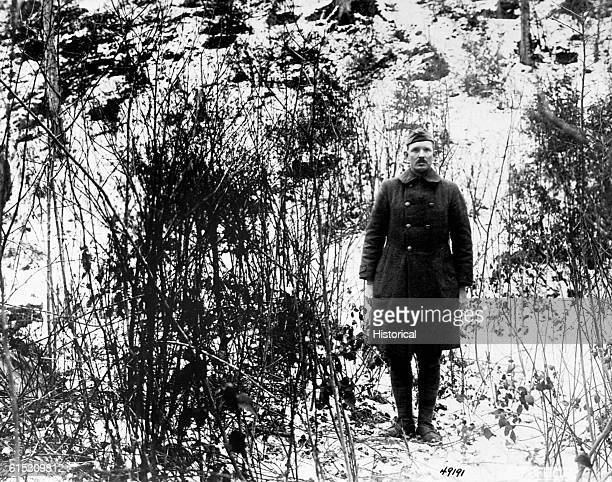 On February 7 Sergeant Alvin C York 328th Infantry returns to the hill in the Argonne Forest near Cornay France where he and 17 other men captured...