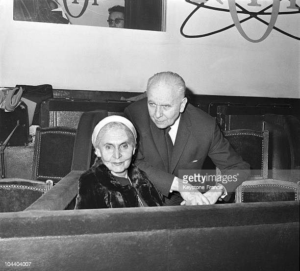On February 8, 1968 in Bobino, the French writer Louis ARAGON and his wife Elsa TRIOLET attend the French singer Serge REGGIANI's opening performance.