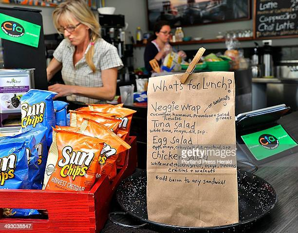On Friday August 16 Jeannie Dunnigan owner of Cia Cafe in Knightville South Portland with her husband fills the orders for lunch She puts the daily...