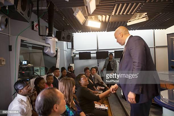 On Friday March 11 in Washington DC United States Senator Cory Booker greets the studio audience on the Joe Madison show on XM Satellite radio