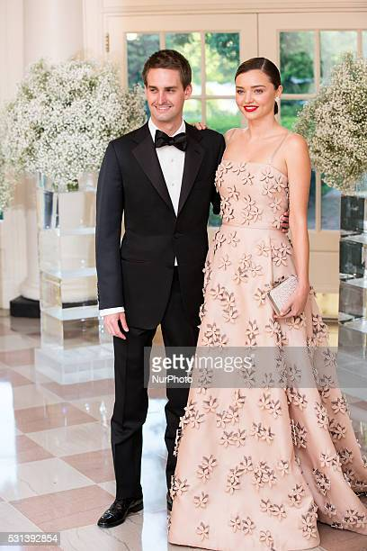 C On Friday May 13 at the White House Model Miranda Kerr and her boyfriend Snapchat CEO Evan Spiegel arrive for the Nordic State Dinner