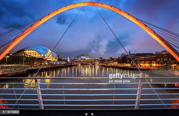 on gateshead millennium bridge - newcastle upon tyne stock pictures, royalty-free photos & images