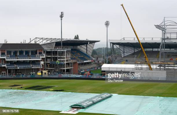 On going building work goes on in the rain ahead of the 2nd Test Match against Pakistan at Headingley on May 30 2018 in Leeds England