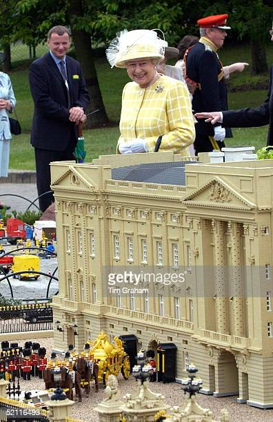 On Her First Visit To Legoland Queen Elizabeth Ll Admires The Lego Replica Of Her Home, Buckingham Palace, Complete With Gold State Coach And...