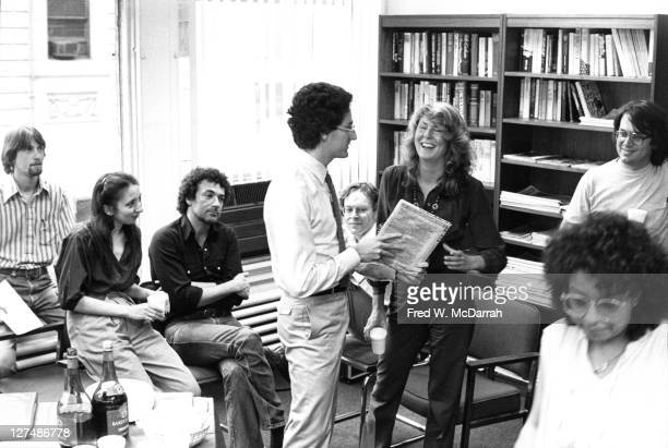 On her last day as managing editor of the Village Voice newspaper American journalist Susan Lyne laughs as the Voice's publisher David Schneiderman...