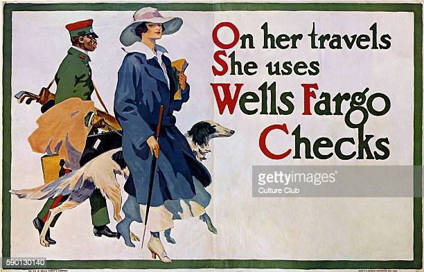 'On her travels She uses Wells Fargo Checks' Elegant woman with dog and porter carrying golf clubs