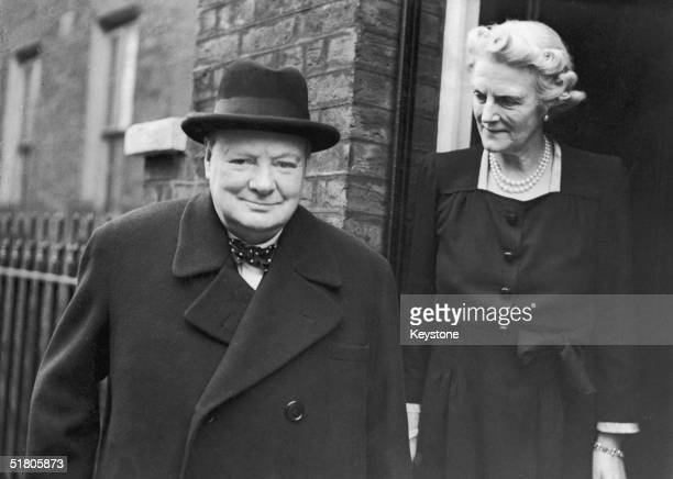 On his 71st birthday former British Prime Minister Winston Churchill and his wife Clementine leave their home at Hyde Park Gate to attend a commons...