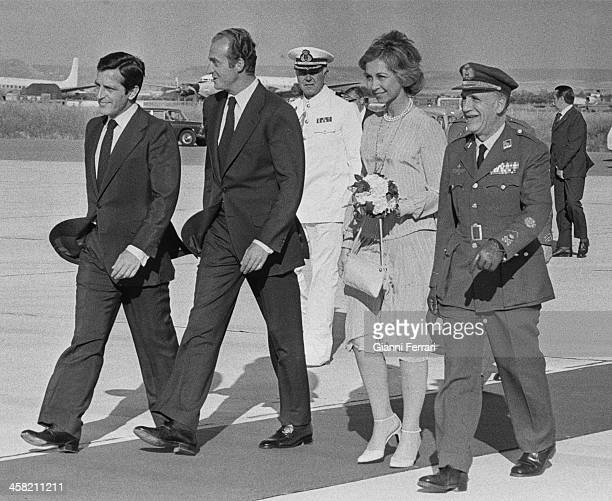 On his return from an official trip to China the Spanish Royals Juan Carlos and Sofia are received at Barajas airport by the Spanish President Adolfo...