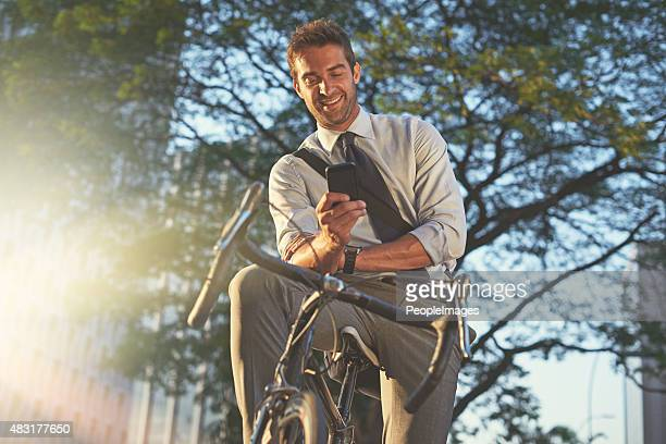 On his way to the office with his trusty bicycle
