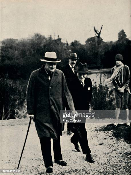 On Holiday With His Son in Italy', 1920s, . British politician and statesman Sir Winston Churchill with his son Randolph . Churchill was Prime...