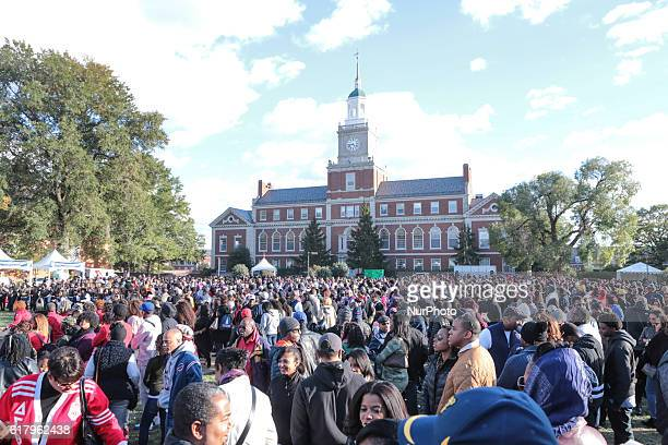 On Howard University's campus in front of the infamous Founders Library Clock Tower on quotThe Yardquot alumni family and friends gather after the...