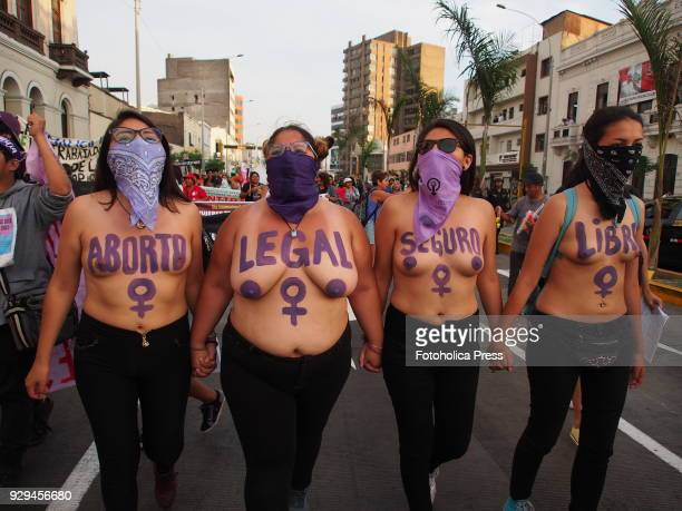 On International Women's Day barechested girls made a demonstration in Lima downtown asking for justice and their rights