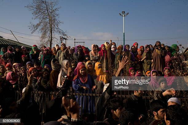 On January 16 2015 in Pakherpoor south of Srinagar the summer capital of Indian administered Kashmir Thousands of mourners in Kashmir Friday joined...