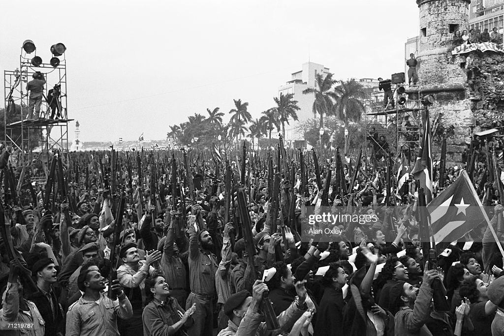 On January 20th 1961, the same day that US President John F Kennedy took up office, Cuban leader Fidel Castro holds a mass rally in front of the presidential palace in Havana to announce the end of a national emergency declared nineteen days earlier. 400,000 militiamen had left their day jobs and taken up battle stations in anticipation of a US attack, but Castro now felt that the danger had passed. The Bay of Pigs invasion took place twelve weeks later, but Castro's forces still managed to defeat their attackers.