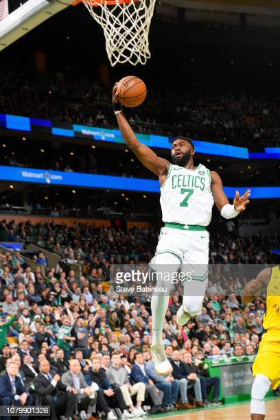 Jaylen Brown of the Boston Celtics drives to the basket during the game against the Indiana Pacers on January 9 2019 at the TD Garden in Boston...