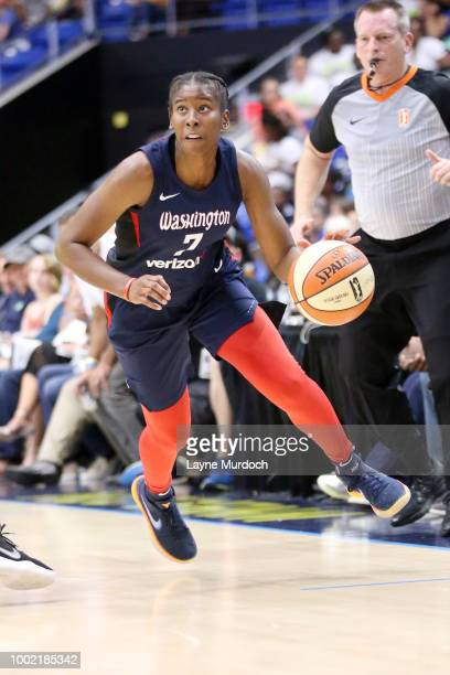 Guard Ariel Atkins of the Washington Mystics handles the ball during the game against the Dallas Wings on July 19 2018 at College Park Center in...