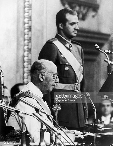 On July 26Th 1969 Crown Prince Of Spain Juan Carlos Taking The Oath In Front Of The Cortes During His Nomination As The Successor Of General Franco