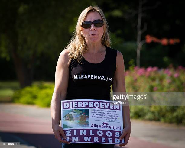 RIJSWIJK on July 6 2015 At the largest Biomedical Primate Research Center in Europe several activists protested against the use of apes for research...