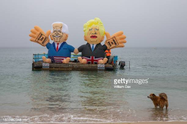 On June 11, 2021: Campaigners launched President Joe Biden and Prime Minister Boris Johnson blimp this morning from Gyllyngvase beach, calling on G7...