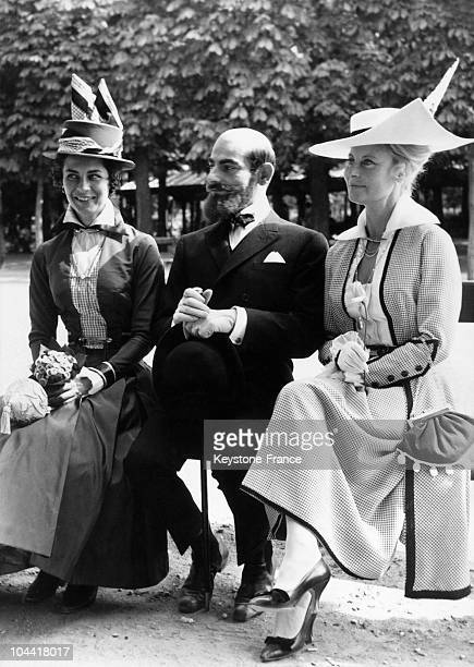 On June 18 French actors Juliette MAYNIEL Charles DENNER and Michele MORGAN joking between two shots during the shooting of the LANDRU movie directed...