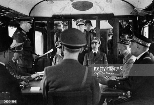 On June 22Nd 1940, At The Franco-German Armistice Signature Into A Train Car At The Rethondes Station, General Wilhem Keitel, Highest Commander Of...