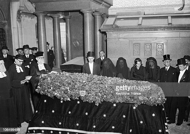 On June 4 The Baron Edouard De Rothschild Was Buried At The Pere Lachaise Cemetery In Paris In The Presence Of His Son Guy De Rothschild His Wife...
