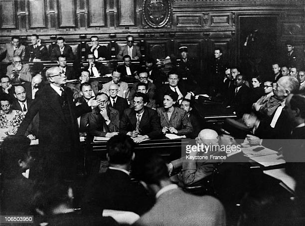On JuneAugust 1945 Back From Deportation Leon Blum Leader Of The French Socialist Party Testifies On The Riom Trial Started By Petain Then Chief Of...
