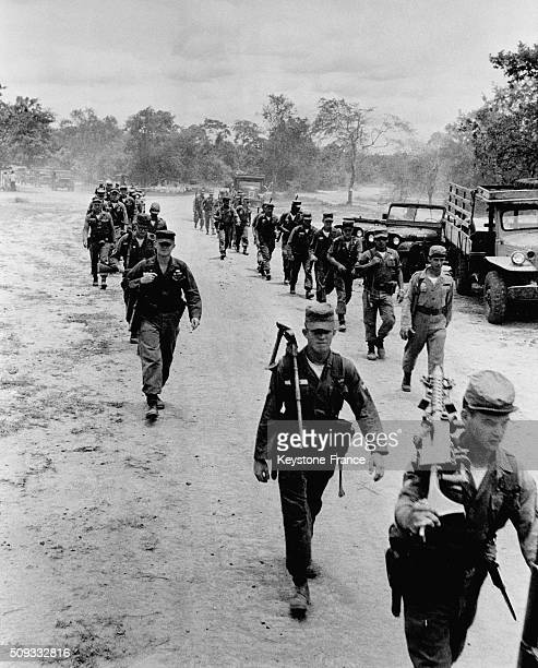 On Laos Thai Border A Group Of American Soldiers on June 6 1962