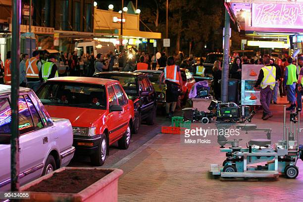 On location during filming of the third series of TV drama Underbelly Underbelly The Golden Mile at Longueville Road Lane Cove on September 8 2009 in...