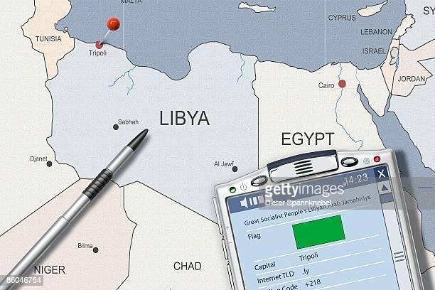 PDA on map of Libya displaying info