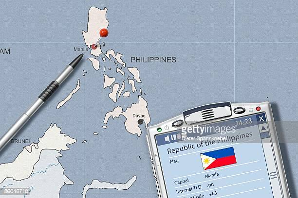 pda on map of philippines displaying info - philippines flag stock pictures, royalty-free photos & images