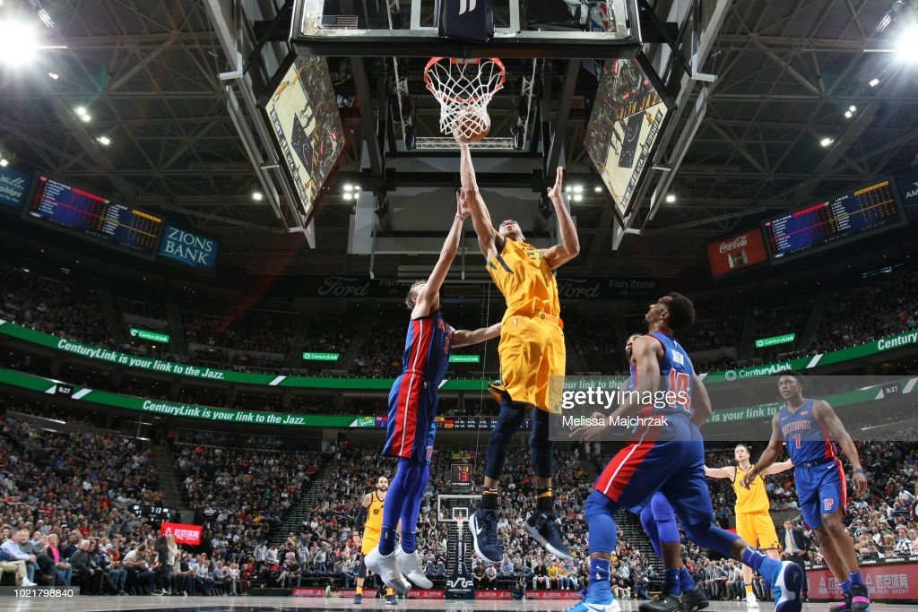Rudy Gobert #27 of the Utah Jazz shoots the ball against the Detroit Pistons of the Salt Lake City Stars of the Northern Arizona Suns at Bruins Arena on March 09, 2018 in Taylorsville, Utah.