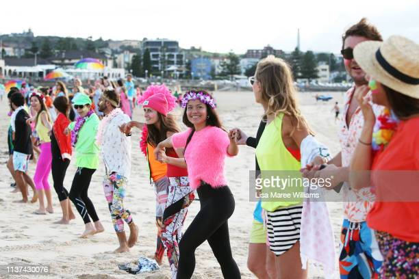 on March 22 2019 in Sydney Australia Surfers gather to celebrate five years of OneWave a not for profit that encourages people to talk about mental...