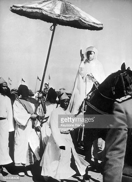 On March 5 King of Morcco HASSAN II goes to the Mosque of Rabat on horseback to be enthroned