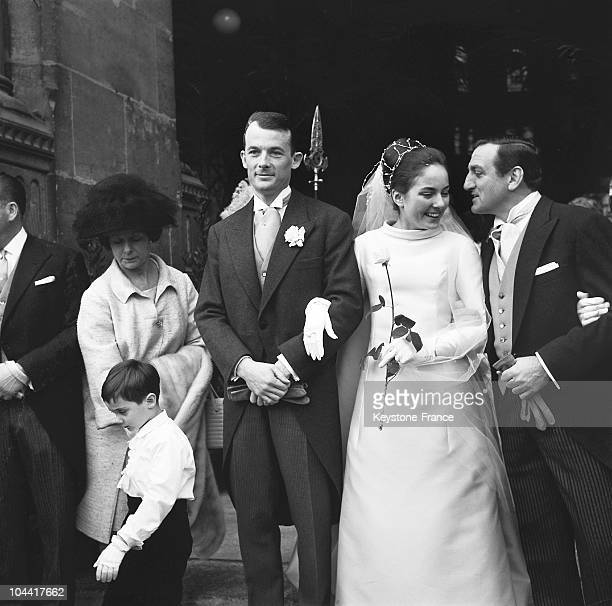 On March 5 Mylene VENTURA is congratulated by his father actor Lino Ventura at her wedding to Claude Lasserre son of the chief cooker Rene Lasserre...