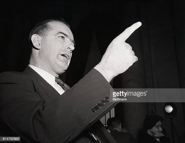 On March 9 Wisconsin Senator Joseph McCarthy shakes a finger during his second appearance before the Senate Foreign Relations Subcommittee which is...