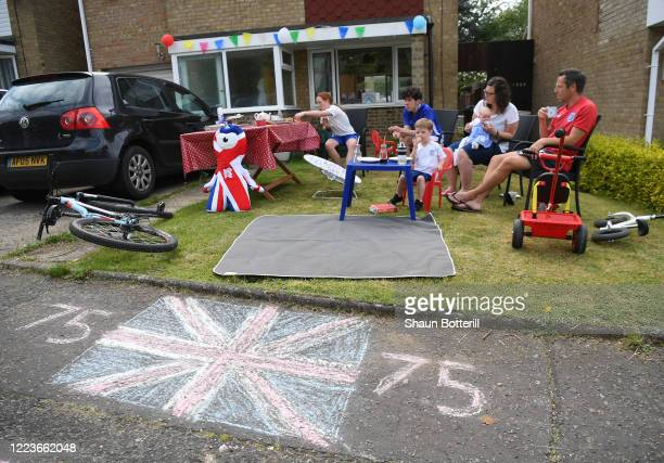 On May 08, 2020 The Goldring family enjoy the VE Day celebrations in Northampton, United Kingdom. The UK commemorates the 75th Anniversary of Victory...