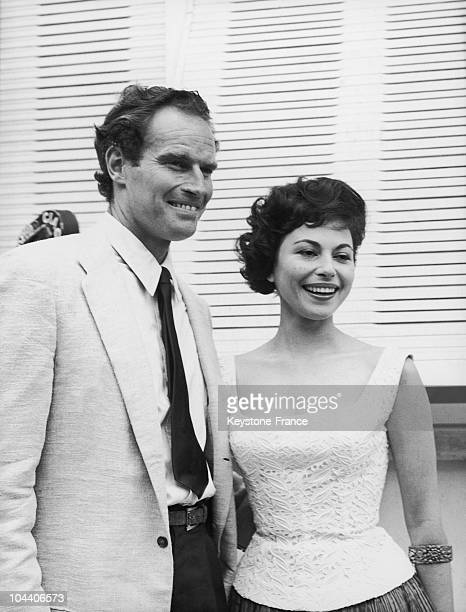 On May 17 in the Cinecitta studios in Roma the couple of star actors of the movie BEN HUR then preparing Charlton HESTON and Haya HARAREET an Italian...