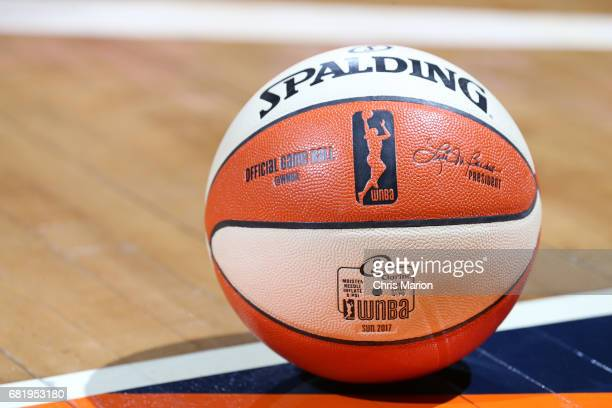 A general view of the @WNBA Spalding basketball used in the game of the New York Liberty against the Chicago Sky at the Mohegan Sun Arena on May 3...