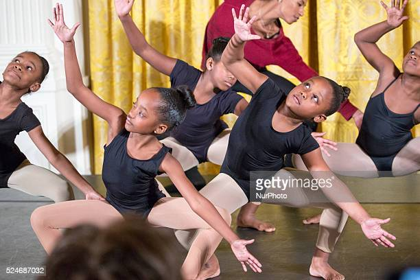C — On Monday Feb 8 In the East Room of the White House Washington DC youth dancers perform for Black History Month