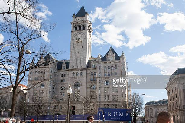 C — On Monday March 21 at the Trump International Hotel site Donald Trump held a press briefing at his new hotel still under construction in downtown...